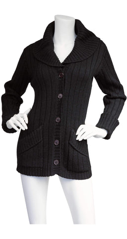 1970s Black Ribbed Wool Collared Cardigan