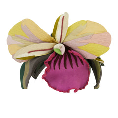1940s Surrealist Wool & Leather Orchid Fascinator