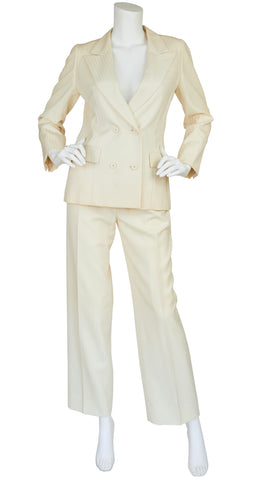 1970s Numbered Cream Wool Pantsuit