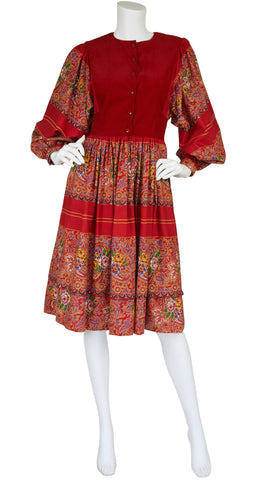 1970s Red Floral and Paisley Cotton Poet Sleeve Dress