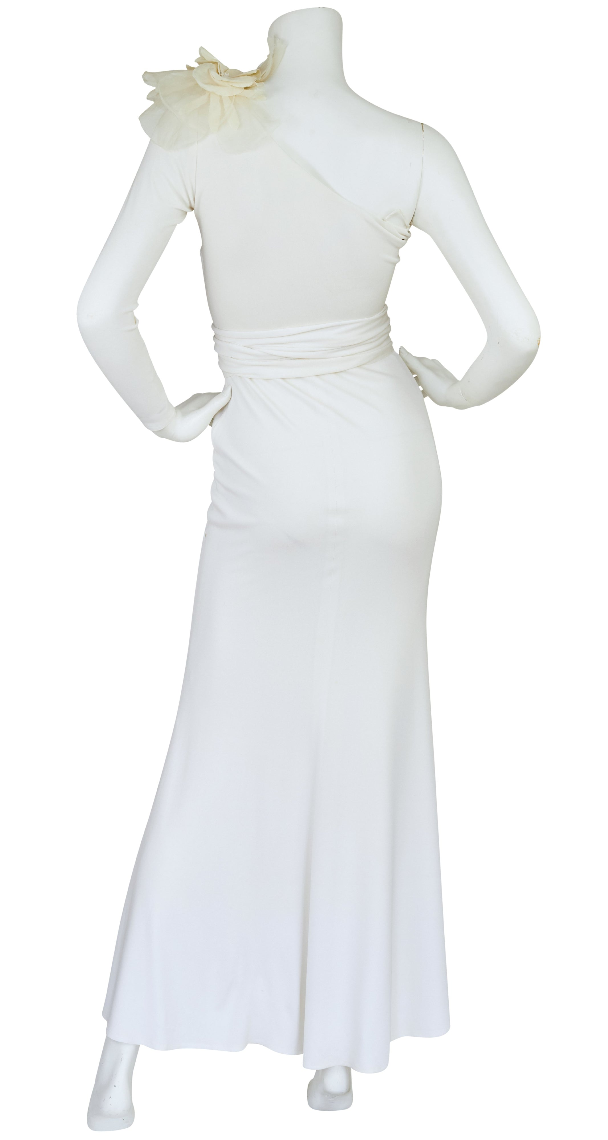 1970s Holly's Harp Attributed White Jersey One Sleeve Gown