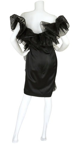 1980s Dramatic Satin and Organdy Ruffle Cocktail Dress