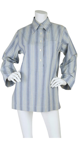 1960s Unisex Moroccan Striped Cotton Tunic