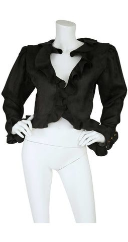 "1980s ""Parallele"" Floral Black Silk Organza Ruffle Jacket"