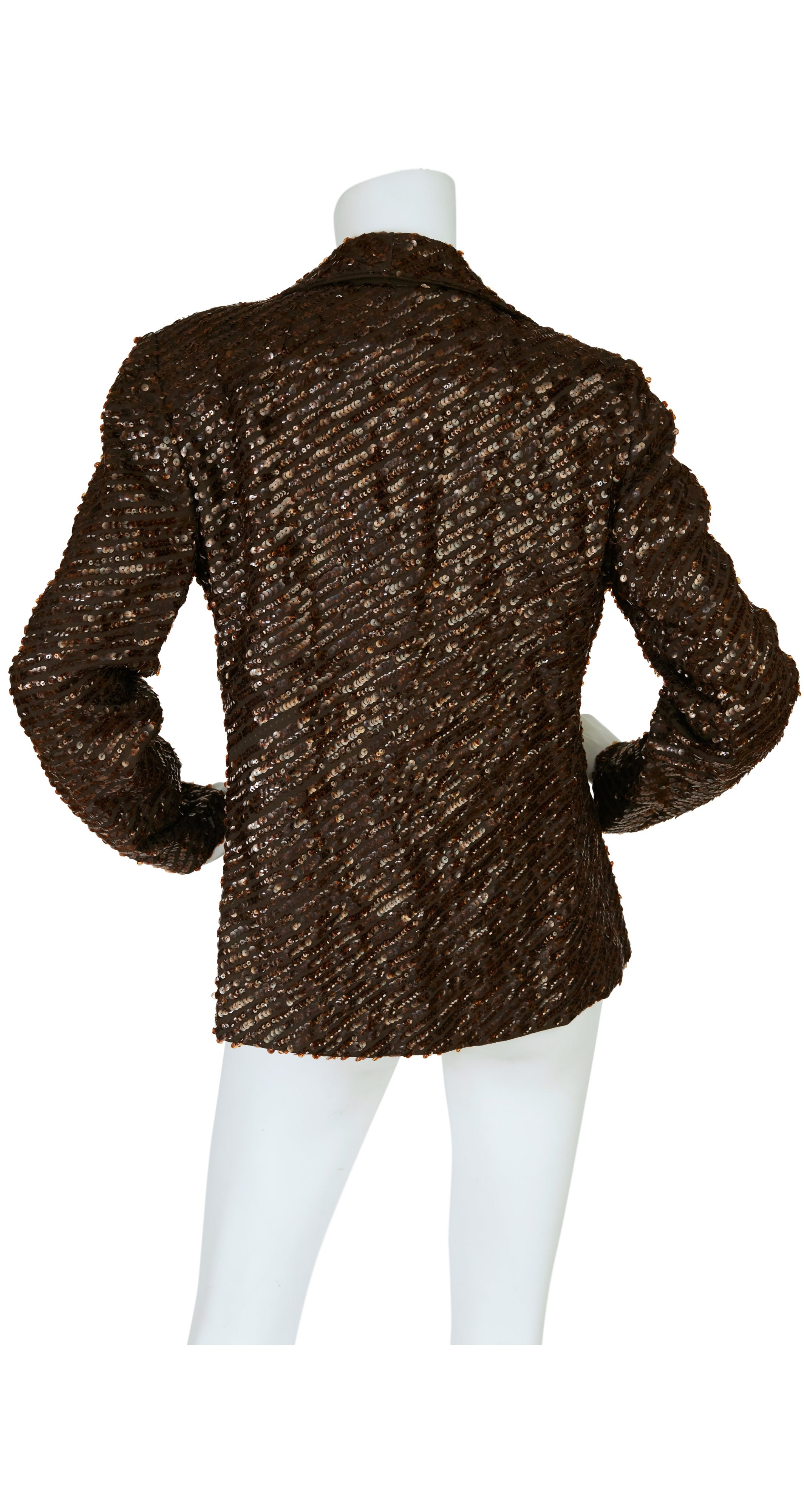 1970s Elinor Simmons Glam Brown Sequin & Crepe Jacket