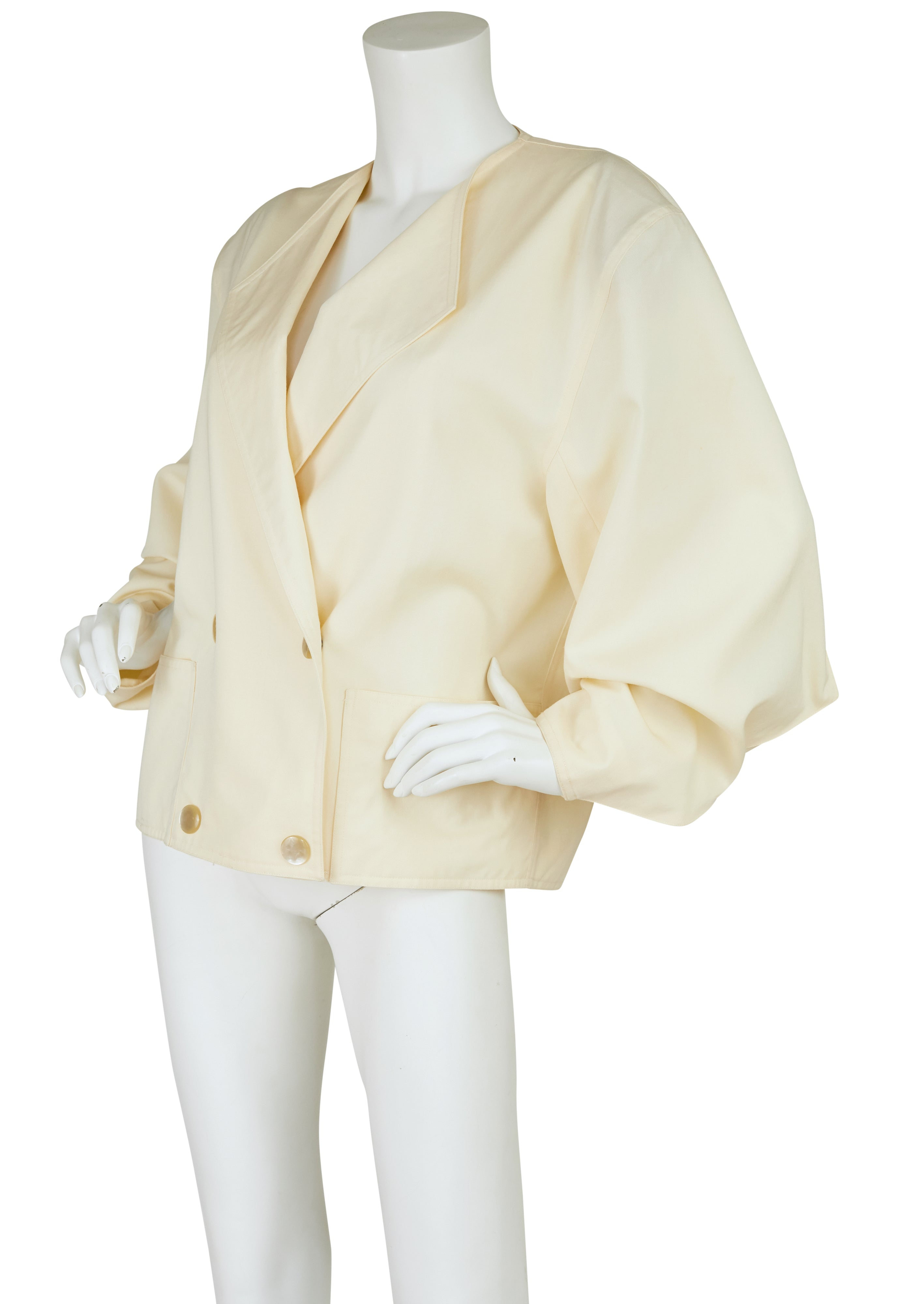 1980s Triangle Sleeve Cream Wool Jacket