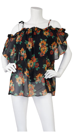 1970s Floral Viscose Chiffon Off-Shoulder Blouse