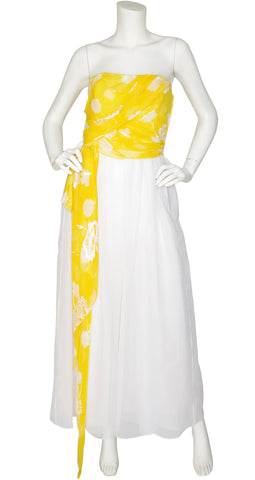1970s Yellow and White Devore Strapless Gown