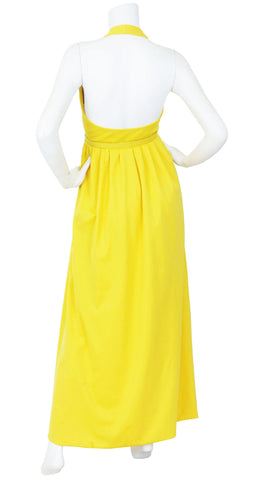 1960s Canary Yellow Jersey Halter Maxi Dress