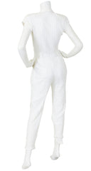 1980's White Satin & Cotton Pinstripe Jumpsuit