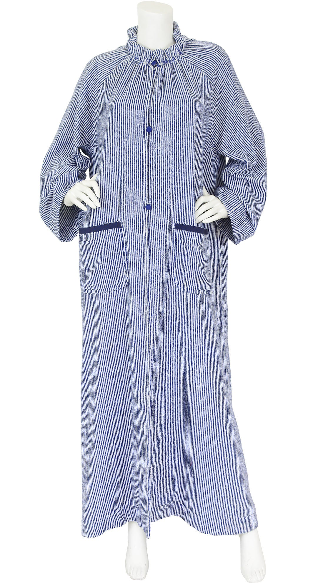 Haute Couture 1970s Striped Terry Cloth Caftan Robe
