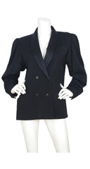 1970s Black Wool & Silk Satin Lapel Tuxedo Jacket