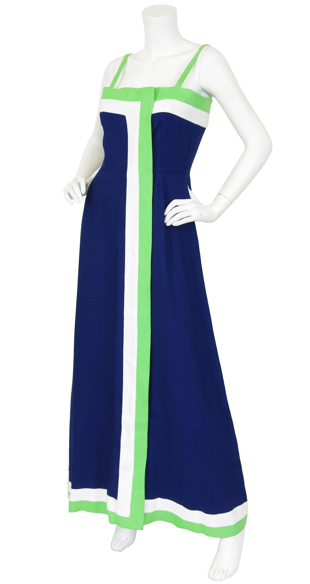 1970s Navy and Green Striped Linen Maxi Dress & Shawl