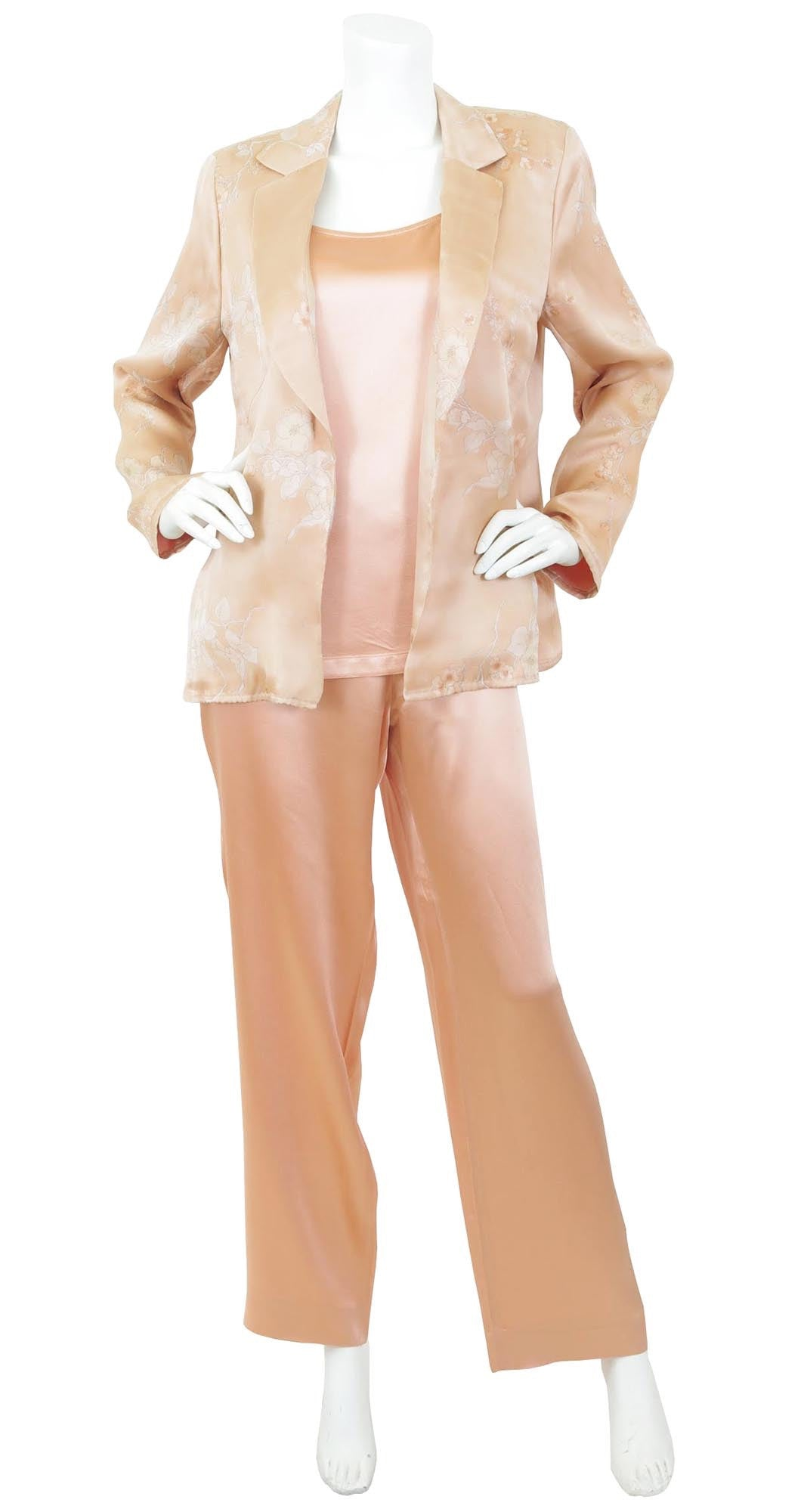 1990's Peach Satin & Floral Organza 3 Piece Lounge Ensemble