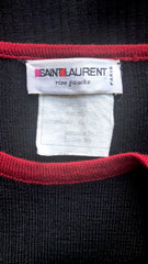 1970s Red & Black Ribbed Wool Toggle Sweater
