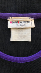 1970s Purple & Black Ribbed Wool Toggle Sweater