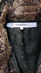 1986 Documented & Numbered Gold Lamé Black Lace Blouse