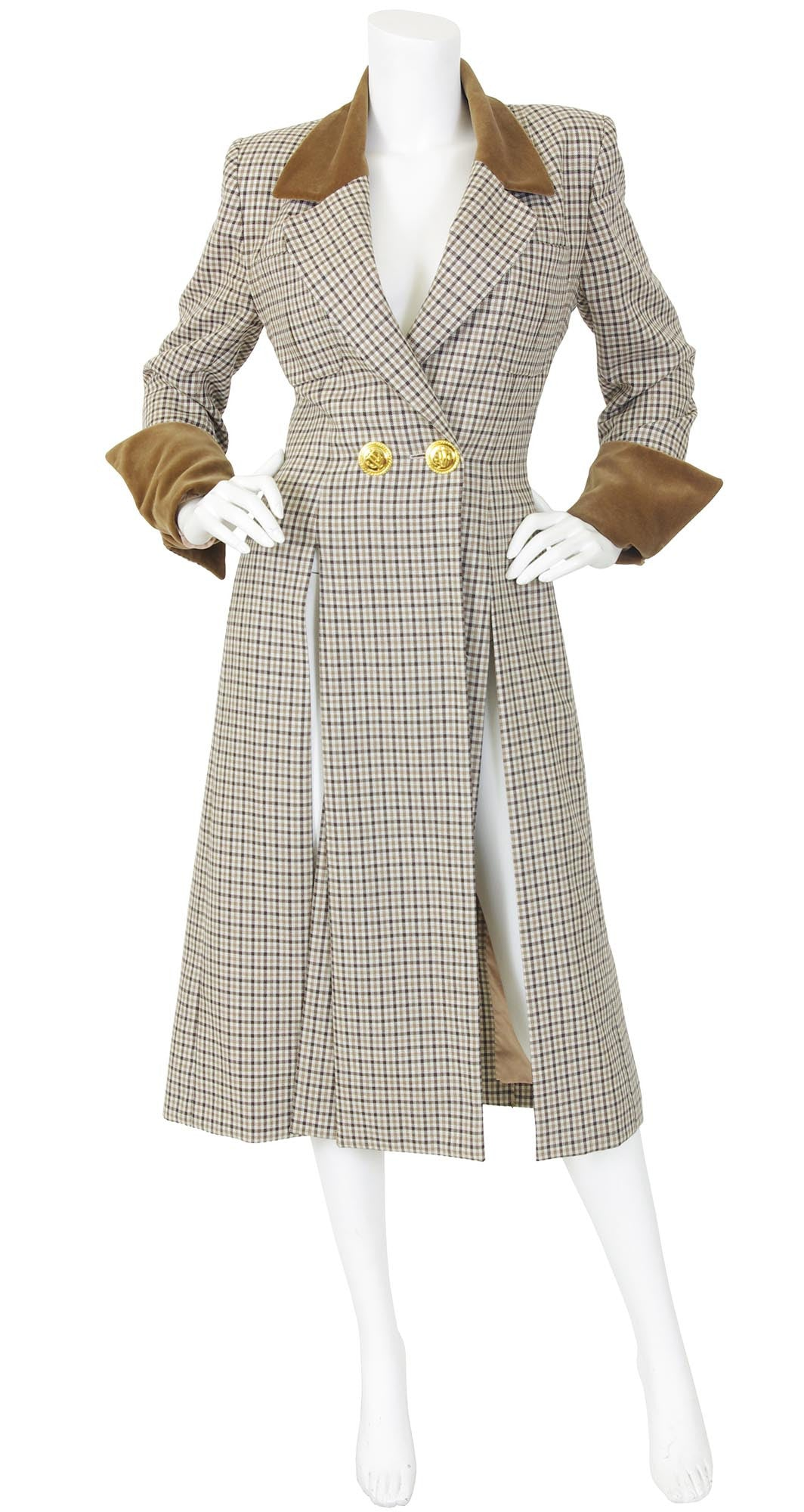 1993 Documented Houndstooth Wool & Velvet Coat