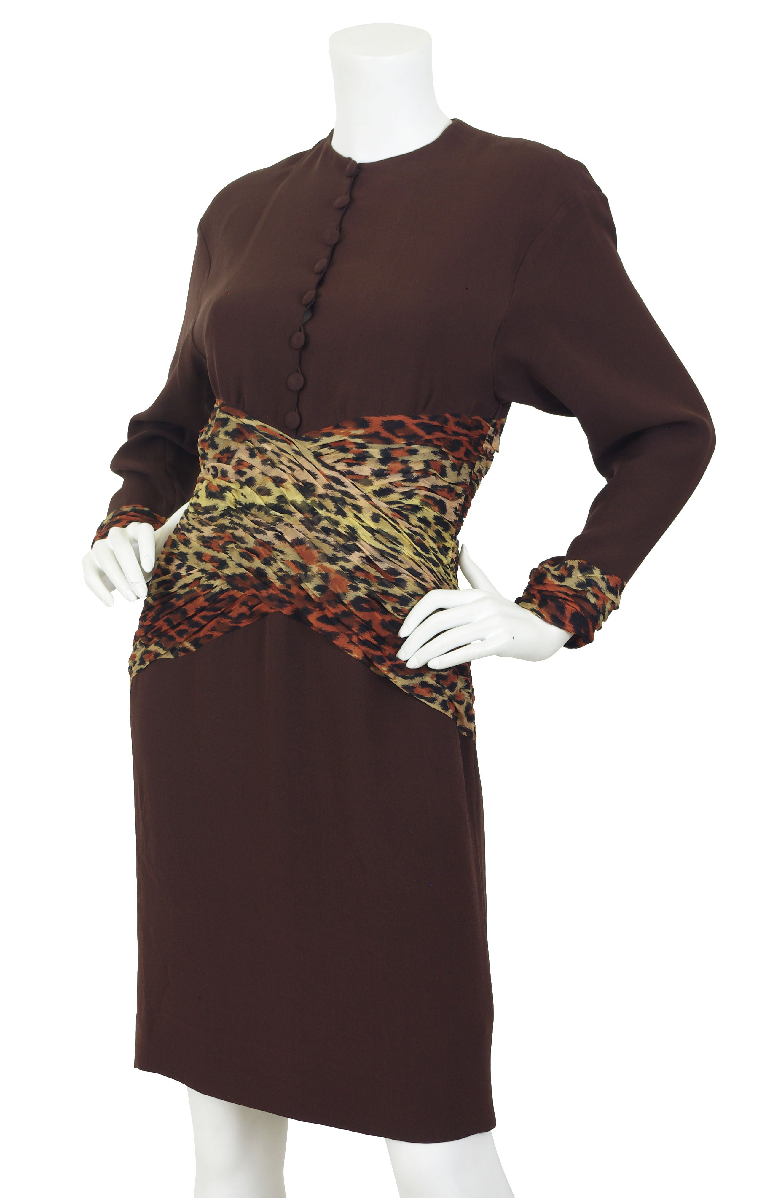 1980s Silk Chiffon Leopard Print & Brown Crepe Dress