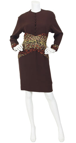 b5d522a31cf8 1980s Silk Chiffon Leopard Print & Brown Crepe Dress