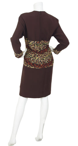 1980's Silk Chiffon Leopard Print & Brown Crepe Dress
