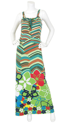 1973 Documented Floral Pop Art Jersey Maxi Dress