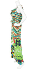 1970's Floral Pop Art Jersey Maxi Dress