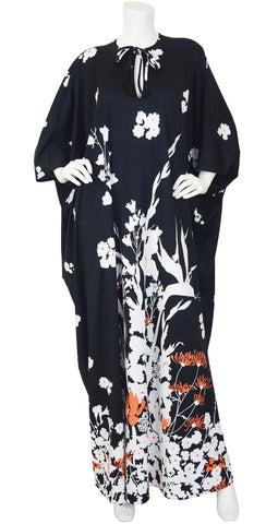 1970's Black & White Floral Jersey Caftan