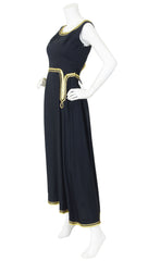 1960s Egyptian Revival Gold Metallic & Black Raw Silk Gown