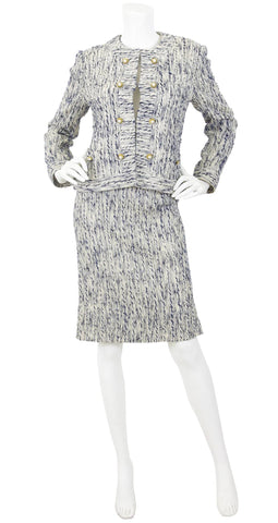 1970s Pearl Button Navy & Cream Boucle Suit