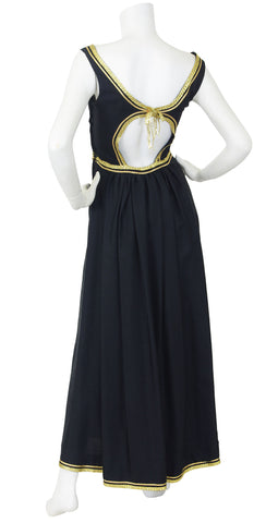 1960's Egyptian Revival Gold Metallic & Black Raw Silk Gown