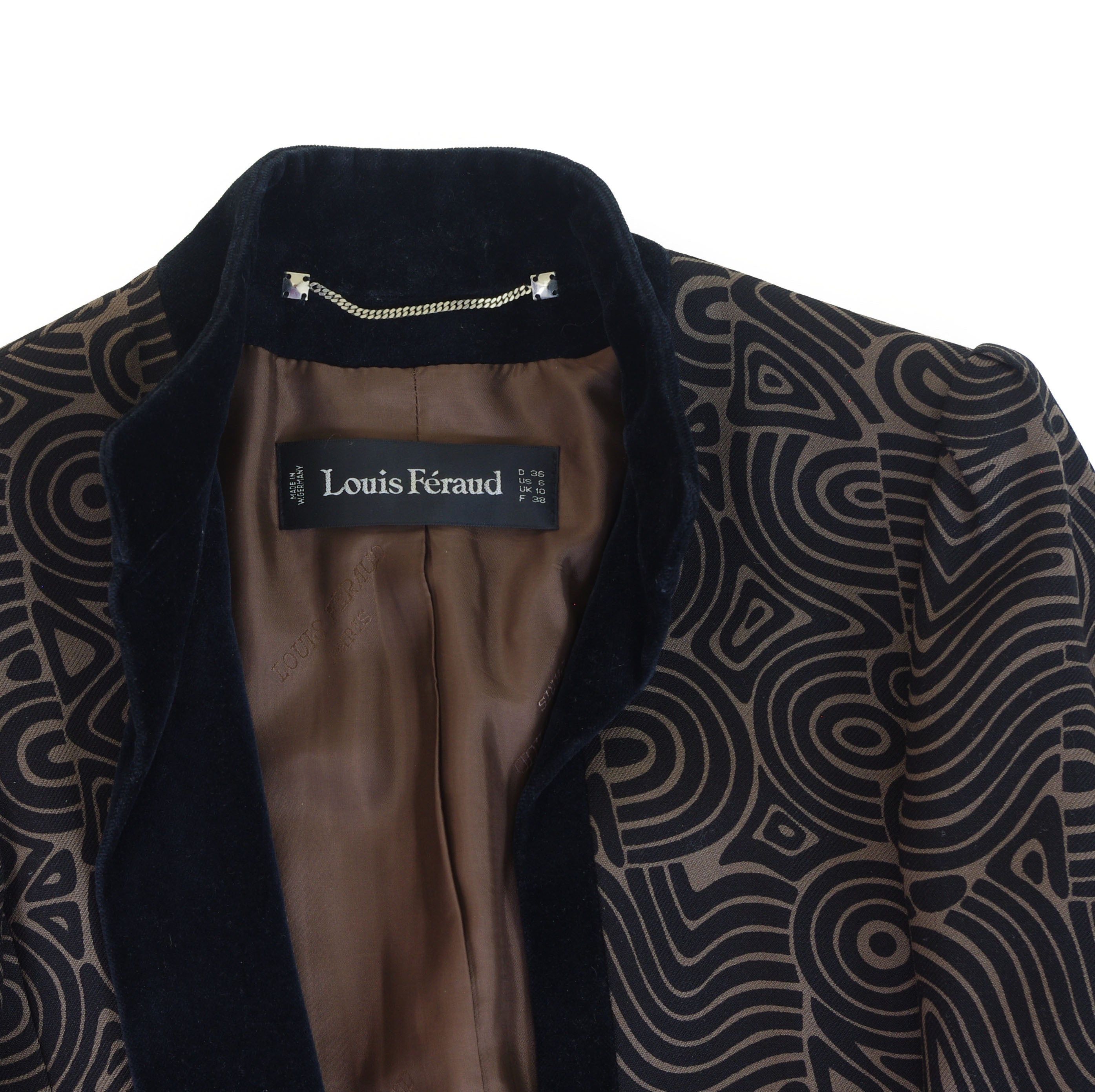 1970's Brown & Black Abstract Wool Jacket