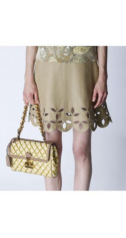 2011 Resort Mod Beige Leather Cut-Out Dress