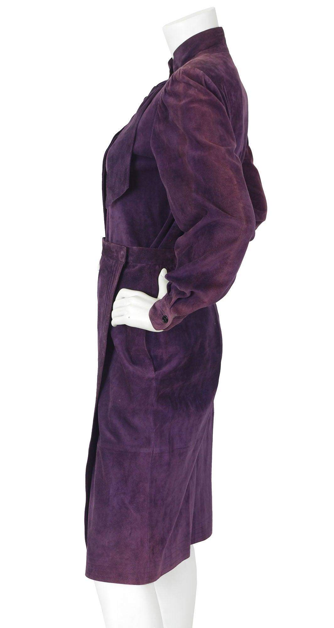 1970's Dark Purple Suede Blouse & Wrap Skirt Set