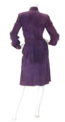 1970s Dark Purple Suede Blouse & Wrap Skirt Set