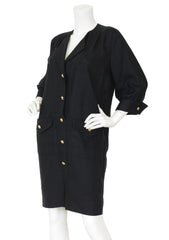1980s Black Linen Gold Logo Button Shirt Dress