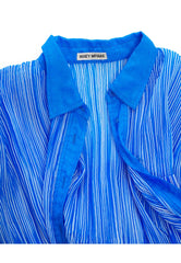 1990s Vibrant Blue & White Striped Pleated Blouse