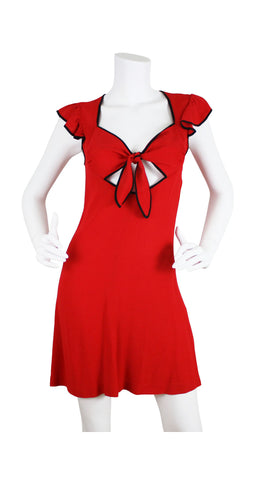 Ossie Clark Design 1970's Red Moss Crepe Dress