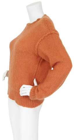 1970's Tuscan Orange Loose Knit Wool Sweater