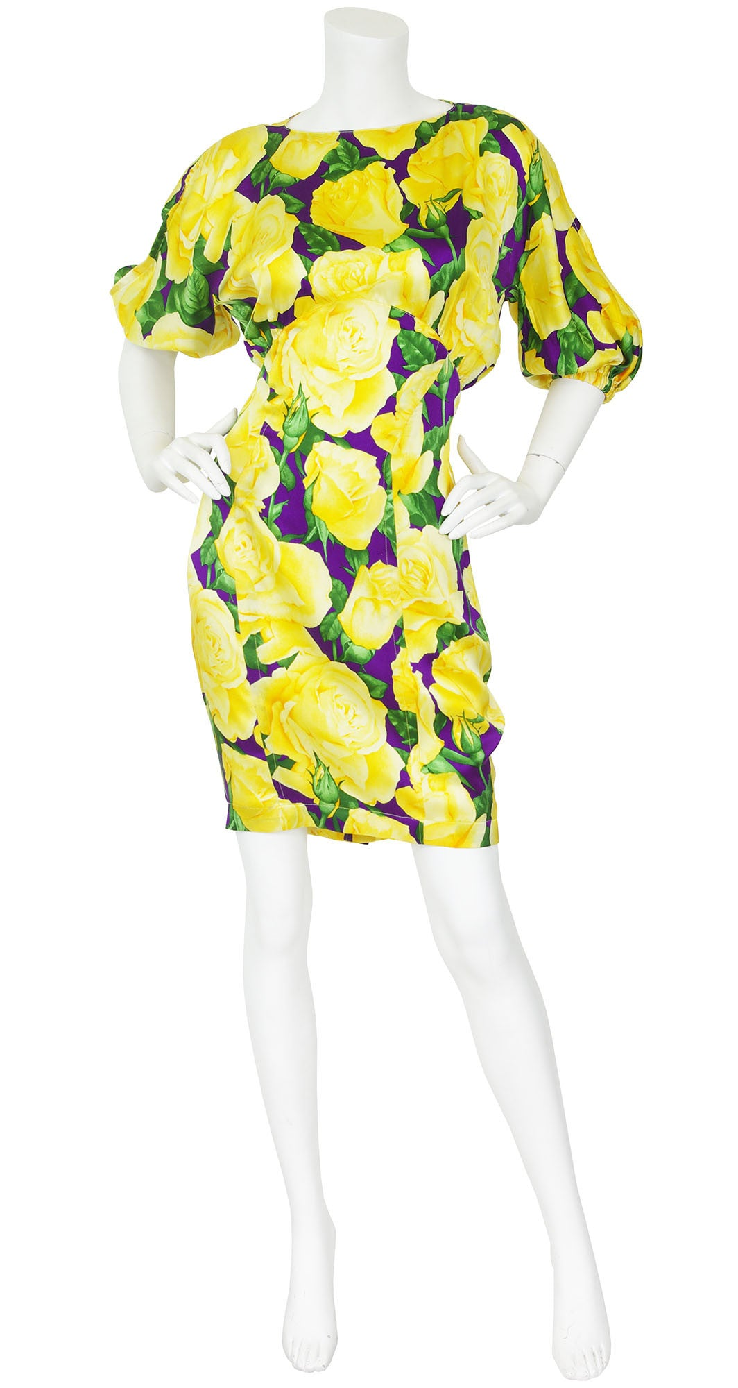 1980s Yellow Rose Floral Silk Bias Dress