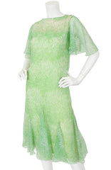 1970s Green Grass Print Voile Dress