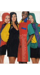1988 S/S Documented Color Block Cotton Shirt Dress