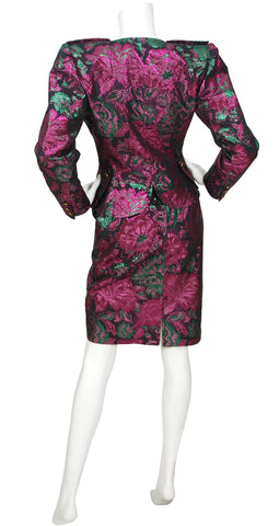 1980s Floral Metallic Brocade Evening Skirt Suit