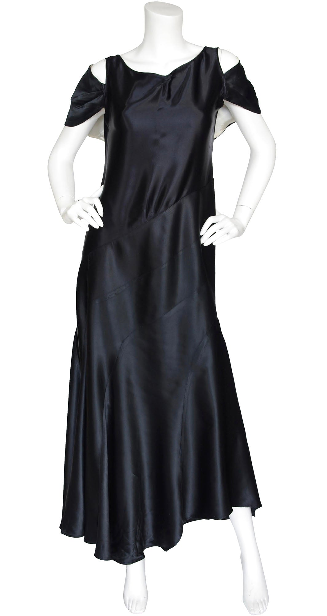 1920s 1930s Capelet Black Silk Satin Bias Evening Gown