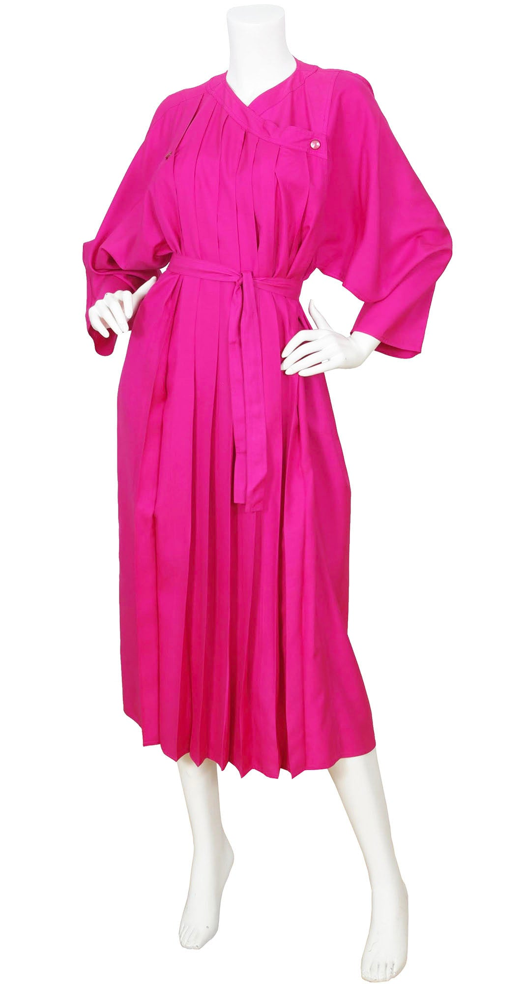 1980s Pleated Hot Pink Raw Silk Dress