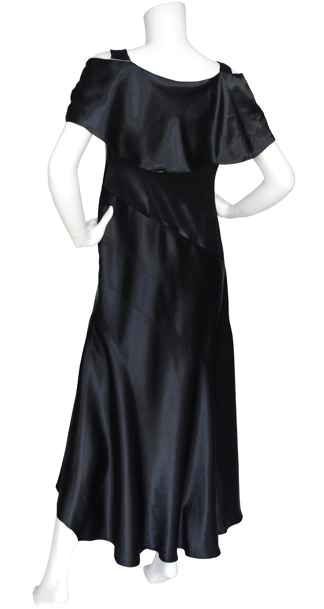 1920s 1930s Vintage Capelet Black Silk Satin Bias Evening Gown ...