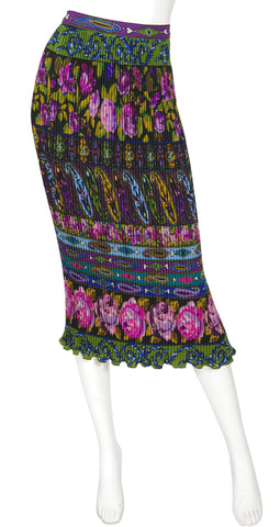 1990s Paisley & Rose Print Wool Crepe Pleated Midi Skirt