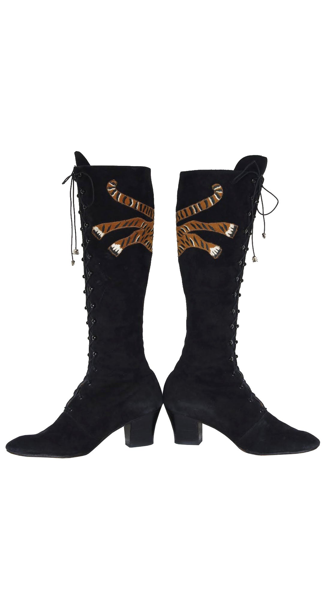 c. 1970 Embroidered Tiger Black Suede Lace-Up Boots