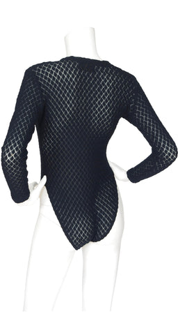 1970s Black Knit Long Sleeve Bodysuit