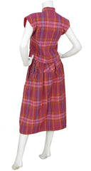 1970s Plaid Cotton 3-Piece Top & Skirt Set
